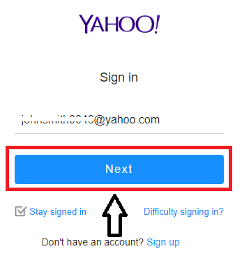 Yahoo email address on Yahoo Sign-in page