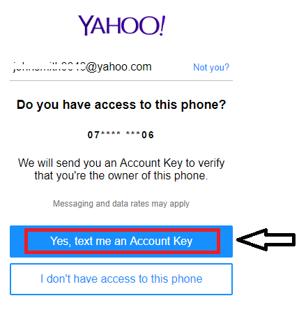click Yes, text me an Account Key