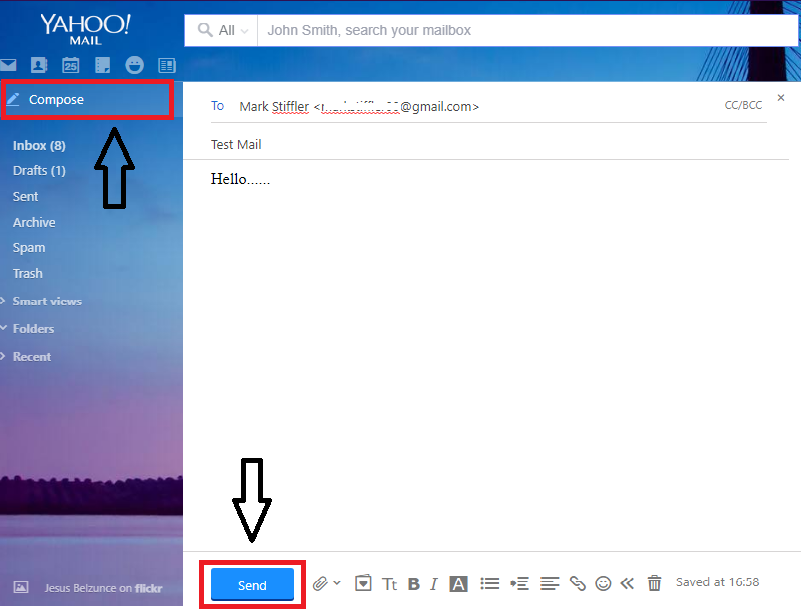 compose email in yahoo