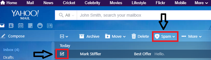Select the unwanted email And Click Spam