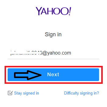 Enter your Yahoo user id and press next