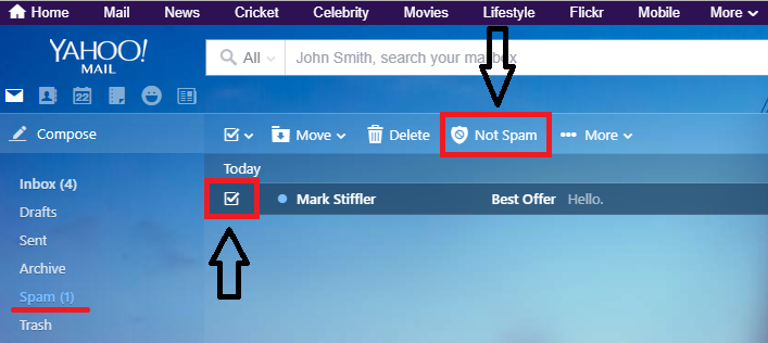 Select desired mail And Press Not Spam