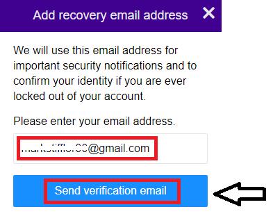 click send verification email