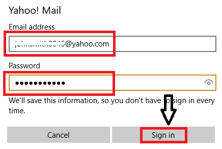 type your Yahoo id and password and click sign in