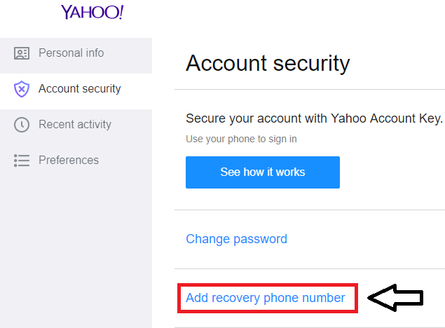 click Add recovery phone number
