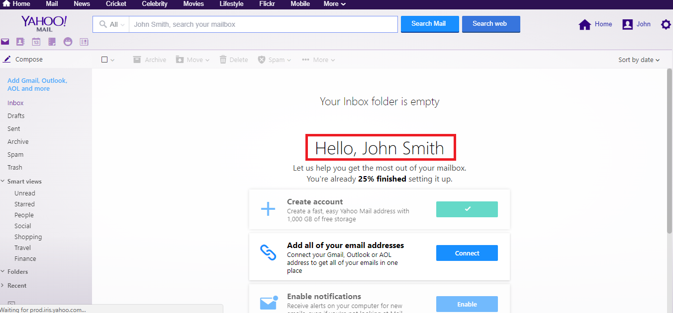 successfully Sign-up a new Yahoo mail account.