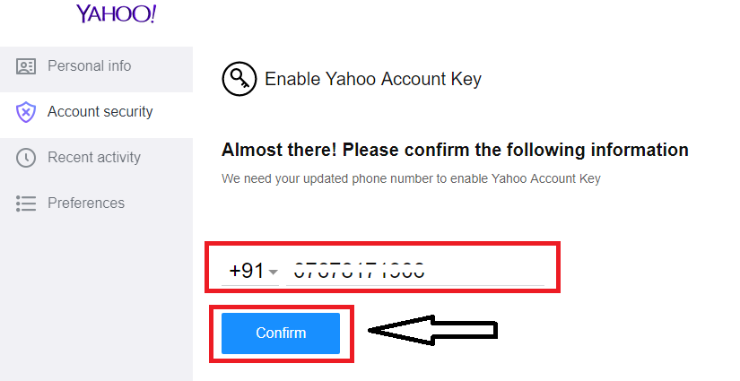Confirm your mobile number