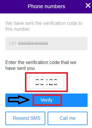 enter verification code and then click Verify