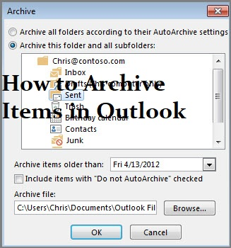 Archive Items in Outlook