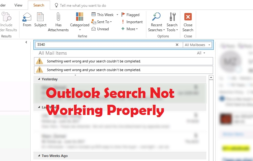 Outlook search not wokring