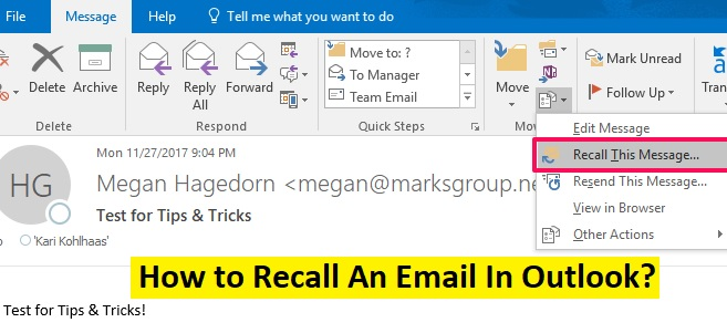 recall outlook email