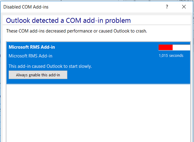 Outlook Detected a Com Add-In Problem
